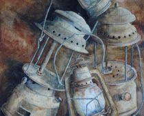 Danielle Beaulieu watercolour of old lanterns