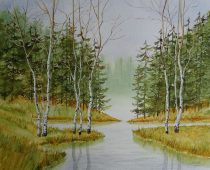 Danielle Beaulieu watercolour of birch trees