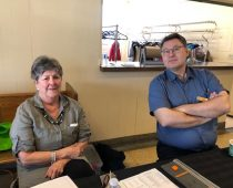 Marie Arsenault and Vic Dohar manning the welcome desk.